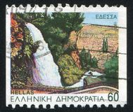 Waterfall. GREECE - CIRCA 1994: stamp printed by Greece, shows Edessa, waterfall, circa 1994 stock photos