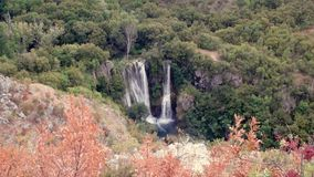 Waterfall in green forest landscape view. Krka river waterfall in green forest landscape view Awesome Krka river national park in. Relaxing background stock video footage