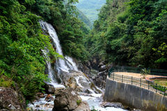 Waterfall. In green jungle with stones Royalty Free Stock Photography