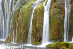 Waterfall with green moss in Jiuzhaigou Stock Images