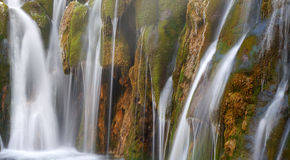 Waterfall with green moss in Jiuzhaigou Royalty Free Stock Photography