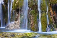 Waterfall with green moss in jiuzhaigou Royalty Free Stock Image