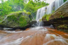 Waterfall in green rainforest. In Thailand Royalty Free Stock Images