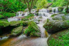 Waterfall in green rainforest. In Thailand Stock Photo