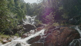 Waterfall among the greenery close-up stock video footage