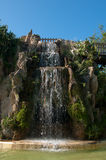 Waterfall and grotto in the Genoves park of Cadiz Stock Photo
