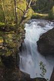 Waterfall Gudbrandsjuvet canyon in Valldal, Norway Stock Images