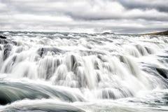 Waterfall gullfoss in iceland, reykjavik. gullfoss is bigger waterfall famous landmark in iceland. reykjavik river. Rapids in iceland. water stream flow. wild royalty free stock photo