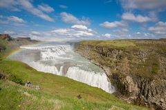 Waterfall Gullfoss and rainbow, Iceland Royalty Free Stock Photos