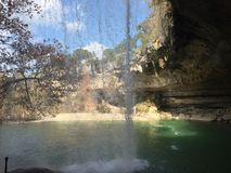 Waterfall hamilton pool. Beautiful waterfall in the nature with lovely weather Stock Photos