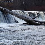 Waterfall and a hard place. Water presence residing in the heart of Hudson Valley Stock Photo