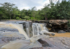 Waterfall after heavy rain. Waterfall in dipterocarp forest, Thailand Stock Images