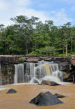Waterfall after heavy rain. Waterfall in dipterocarp forest, Thailand Stock Photos