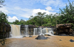Waterfall after heavy rain. Waterfall in dipterocarp forest, Thailand Stock Photo