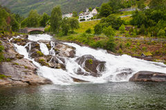 Waterfall in Hellesylt, Geiranger fjord, Norway Royalty Free Stock Photo