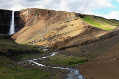 Waterfall hengifoss. Waterfall in a lonesome valley in Iceland Royalty Free Stock Image