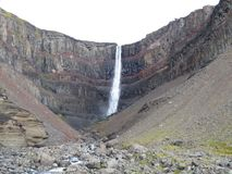 The waterfall Hengifoss. With 118 meters, the fourth-highest in Iceland Royalty Free Stock Photos