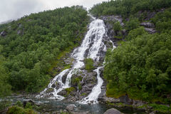 Waterfall in the hills of Norway. Royalty Free Stock Photography