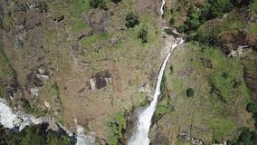 Waterfall in Himalayas range Nepal from Air view from drone stock footage