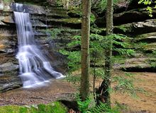 Waterfall at Hocking Hills State Park Stock Photo