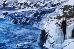 The Waterfall Hraunfossar Stock Photo