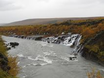 Waterfall Hraunfossar. = `Lava Waterfall`. Because the water comes directly from the lava rock Stock Images