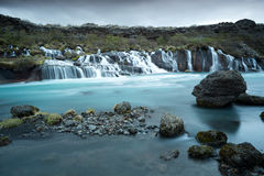 Waterfall Hraunfossar Royalty Free Stock Photo