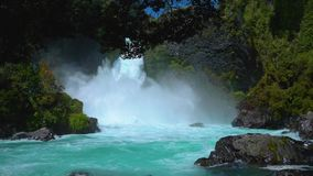 Waterfall in Huilo Huilo. Huge waterfall in Chilean scenery Huilo Huilo stock video footage