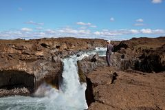 Waterfall in Iceland Royalty Free Stock Photos