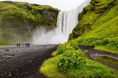 Skogafoss. A waterfall in Iceland. Green plants in foreground Stock Photos