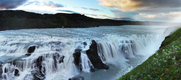 Waterfall in Iceland. Gullfoss. Golden waterfall in Iceland. Gullfoss Stock Photography