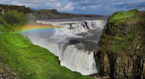 Waterfall in Iceland. Gullfoss. Golden waterfall in Iceland. Gullfoss Royalty Free Stock Photo