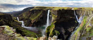 Waterfall in Iceland. Haifoss. Silver waterfall in Iceland. Haifoss Royalty Free Stock Photo