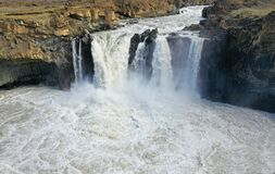 This waterfall in Iceland is in Northeast and is on the way to Sprengisandur.