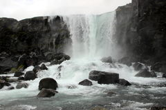 Waterfall in Iceland. One of the many waterfalls in Iceland is shown Stock Photography