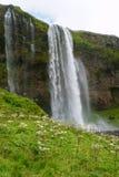 Waterfall, Iceland. Scenic waterfall Iceland, Seljalandsfoss Icelandic travel tourism nature royalty free stock image