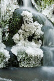 Waterfall with icicles. Waterfall in the forest with icicles Royalty Free Stock Image