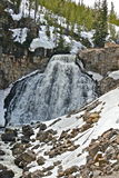 Waterfall. Icy snowmelt fuels hundreds or more waterfalls in spring, within Yellowstone National Park Royalty Free Stock Photo