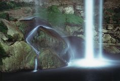 Waterfall and moonlight Misol Ha Mexico stock photo