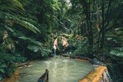 Free Waterfall In Caldeira Velha, Ribeira Grande, Natural Spa, Sao Miguel, Azores, Portugal Stock Photo - 153732380