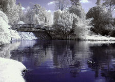 Waterfall infrared. Bridge and lake / river photographed in infrared Stock Images