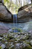 Waterfall. Inside woods with milky water effect Royalty Free Stock Photography