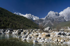 Waterfall at Jade Dragon Snow Mountain Stock Photo