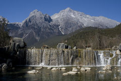 Waterfall at Jade Dragon Snow Mountain Royalty Free Stock Photography