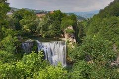 Waterfall Jajce. Old town of Jajce Waterfall on river Pliva Stock Photo