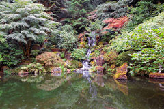 Waterfall at Japanese Garden Royalty Free Stock Photos