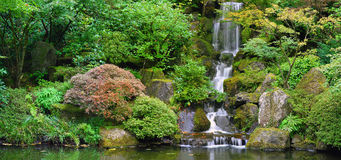Waterfall at Japanese Garden Panorama Royalty Free Stock Images