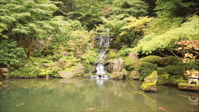 Waterfall in a  Japanese  Garden Stock Photography