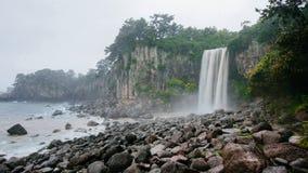 Waterfall in Jeju Island, South Korea. Horizontal Royalty Free Stock Images