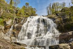 Waterfall in Jerte valley. Caozo area. Caceres, Spain. Horizontal Stock Photos